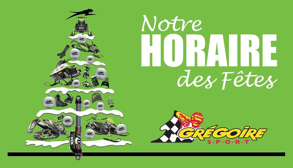 Horaire des Fêtes 2020 Gregoire Sport